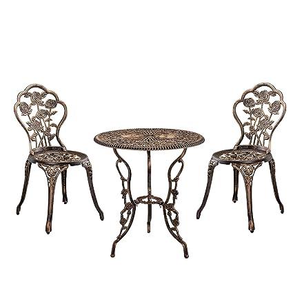 casa.pro] Set bistro hierro fundido mesa + 2 sillas bronce look ...