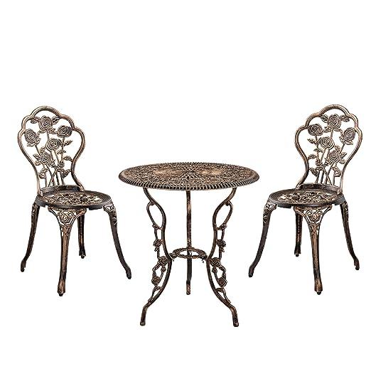 Casa Pro Set Bistro Hierro Fundido Mesa 2 Sillas Bronce Look Antiguo Muebles Para Jardín Terraza Balcón
