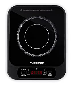 Chefman Induction Cooktop Electric Countertop Burner - Includes Digital Control Panel / Timer and Cool Touch Technology, Black