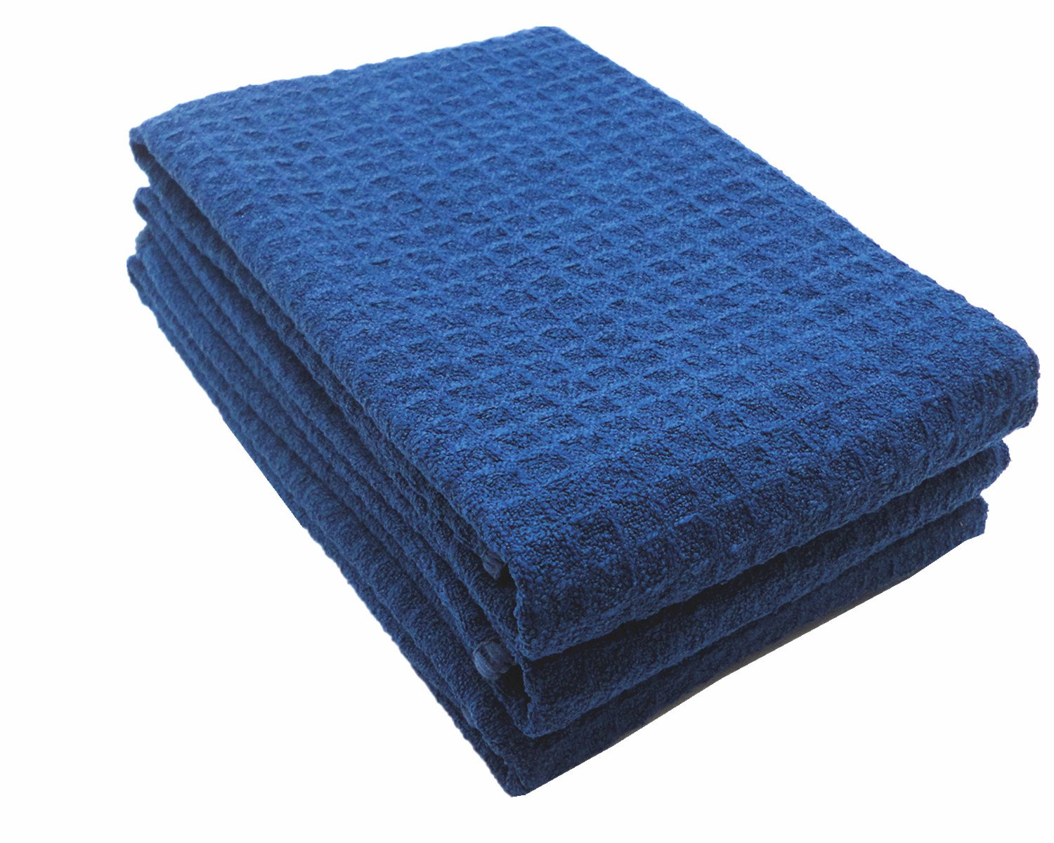 Mia'sDream Microfiber Waffle Weave Kitchen Towels Dish Cloth 3 Pack 16inch X 24inch (Navy Blue)