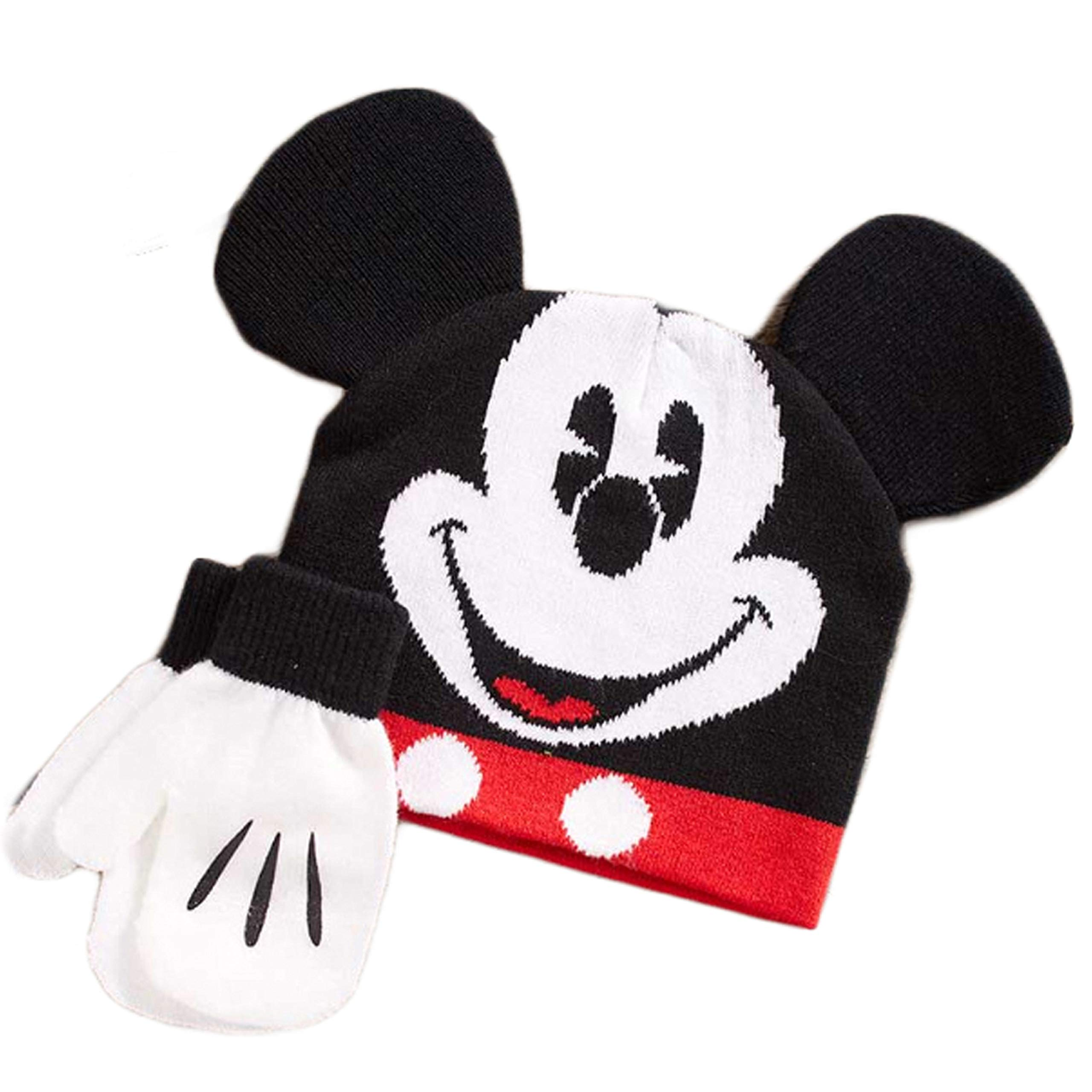 Mickey Mouse Little Boys Toddler Beanie Hat & Mitten Set