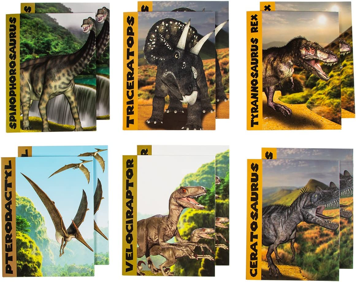 Juvale Pocket File Folders with Dinosaur Design (9.2 x 12 Inches, 12-Pack)