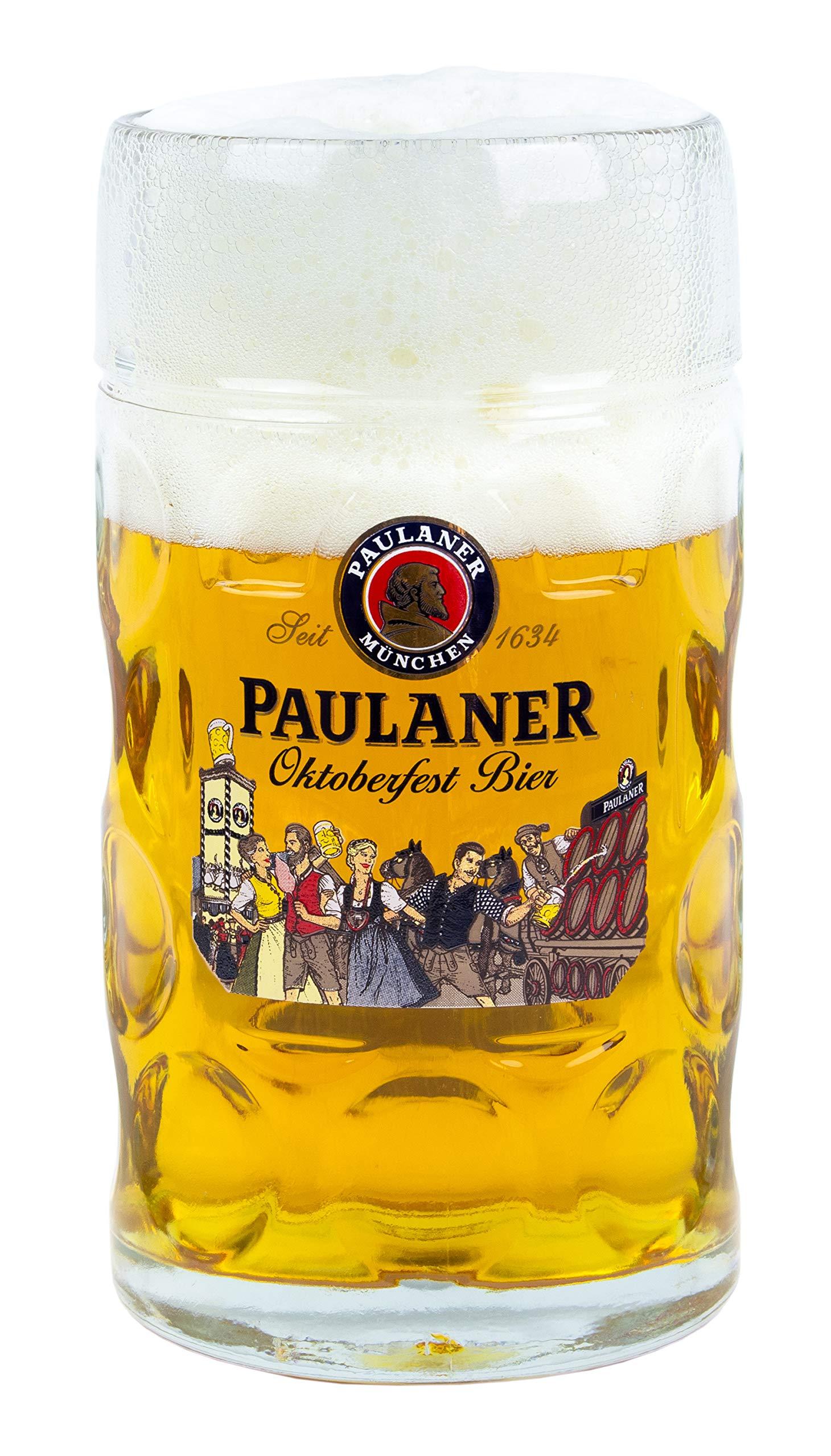 Paulaner Dimpled Isar Beer Mug - 1 Liter Mass Krug (Oktoberfest 'Wiesn' Edition)