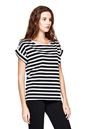 a49fd7de79d80 YOUMECLO Women Round Neck Casual Loose Striped Shirt Black and White Cotton Short  Sleeve Tee Blouse
