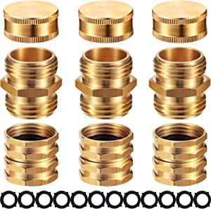 3 Set Quick Garden Hose Connectors and 3/4 Inch Brass Garden Hose End Caps 3/4 Inch GHT Brass No-Leak Garden Hose Connector Fittings Water Hose Connector with 12 Pieces Rubber Gaskets