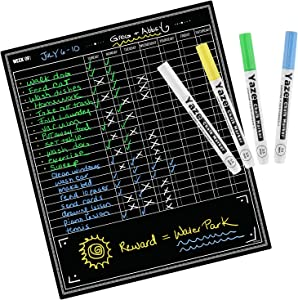 Magnetic Chore Chart for Kids - 4 Chalk Markers - Children's Dry Erase Chalkboard Calendar for Multiple Household Chores & Responsibilities - Reusable Family Refrigerator Weekly Planner (20x17)