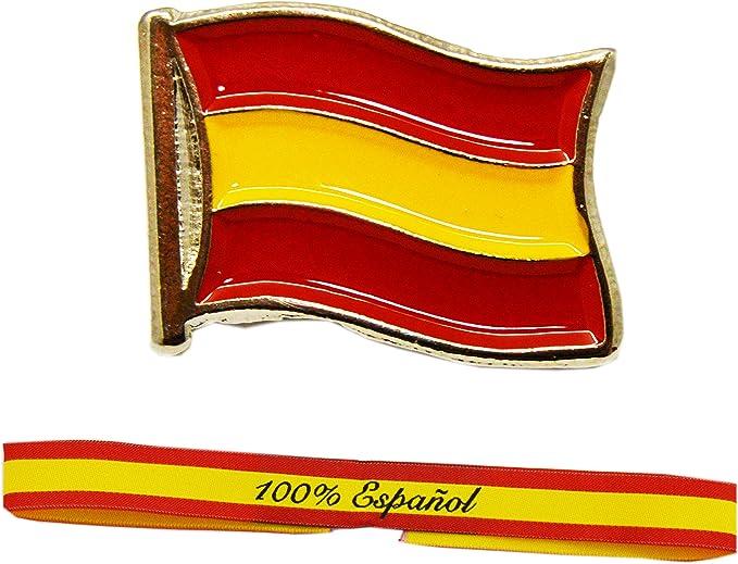 ALBERO Pack Soy Español 100% compuesto por Pulsera de Tela y Pin ...