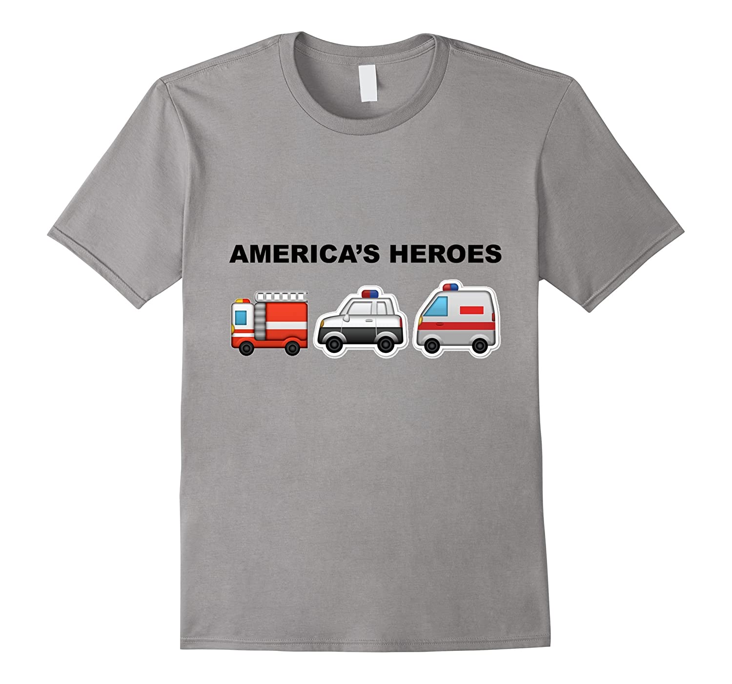 American Heroes T-Shirt Firefighter Police Men Paramedics-TD
