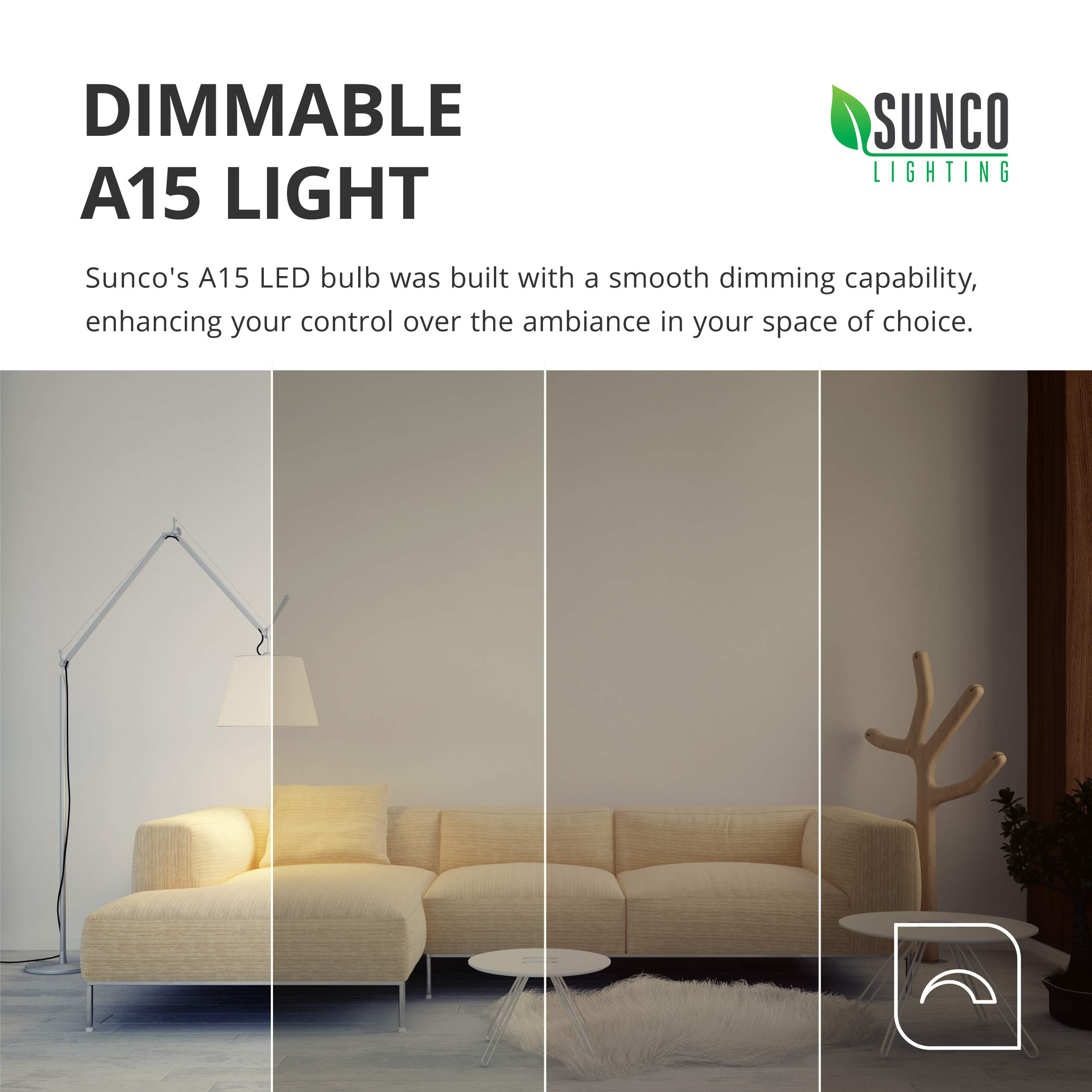 Sunco Lighting 10 Pack A15 LED Bulb, 8W=60W, 3000K Warm White, Dimmable, 800 LM, E26 Base, Refrigerator & Fan Light - UL, Energy Star by Sunco Lighting (Image #5)