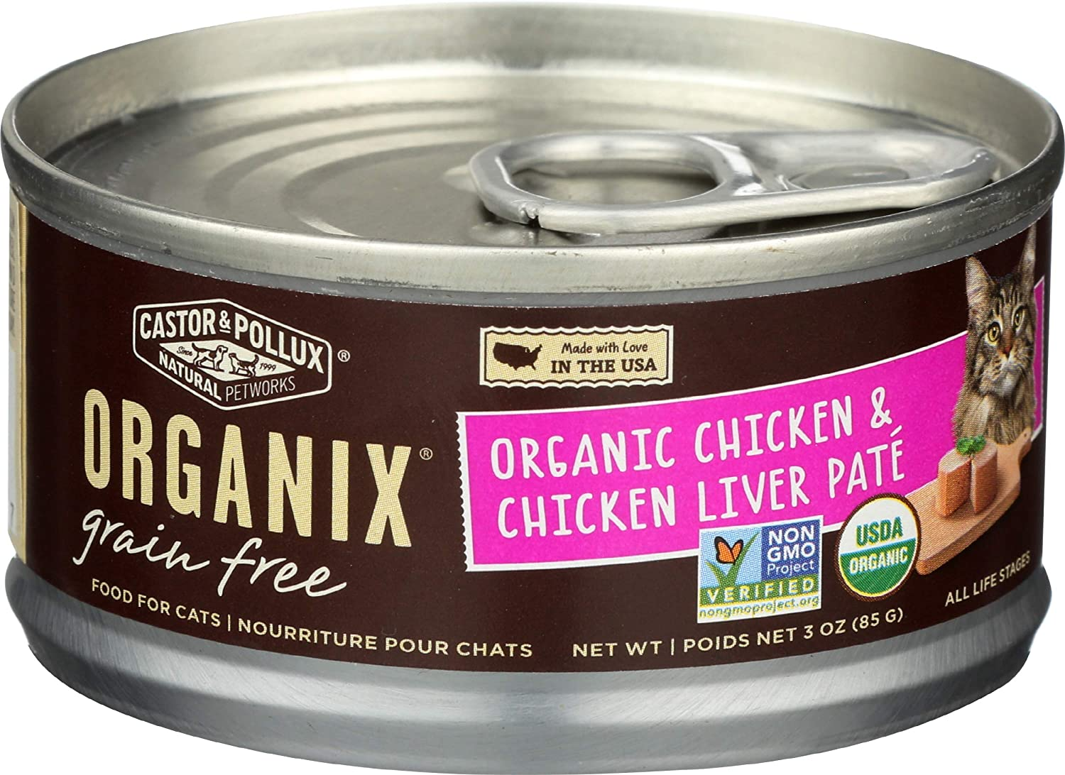 Castor & Pollux, Cat Food Organix Chicken and Liver Pate Organic, 2.99 Ounce