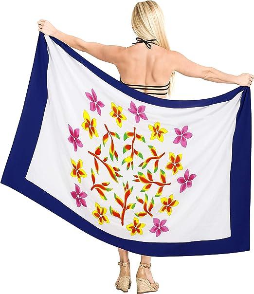 LA LEELA Donne Rayon Wrap Costume da Bagno Coprire Pareo Stampati