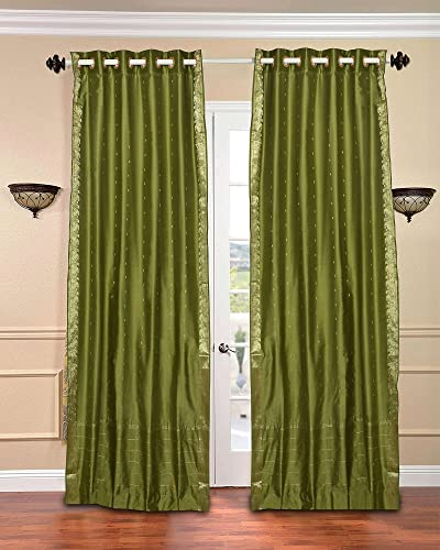 Indian Selections Lined-Olive Green Ring Top Sheer Sari Curtain Drape – 80W x 120L – Piece