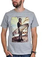 Star Wars Herren Fan T-Shirt Chewbacca - Wookiee on the beach in Grau und Weiß