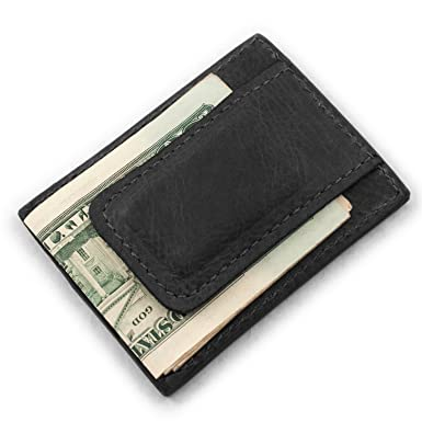 940e1210c4b46b Genuine Bison Buffalo Leather Magnetic Money Clip 3 Card Wallet (Black) at  Amazon Men's Clothing store: