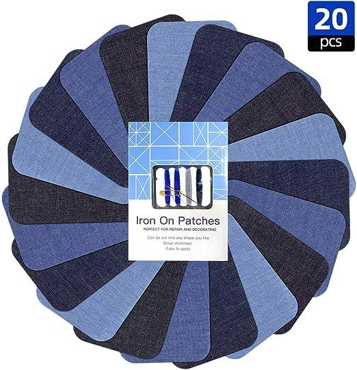 Parches termoadhesivos para ropa, 20 unidades, 10,16 cm x 7,62 cm, para planchar, para jeans con kit de costura para reparación y diseño de vaqueros: Amazon.es: Hogar