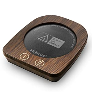 "VOBAGA Imitation Wood Grain Coffee Cup & Mug Warmer For Desk,3.5"" Diameter Electric Cup Beverage Warmer Plate With 3 Adjustable Temperature (Up to 150℉/65℃) For Tea,Water,Cocoa,Milk, Soup"