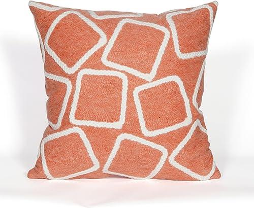 Liora Manne Visions I Squares Indoor Outdoor Pillow, 20 X 20 , Orange