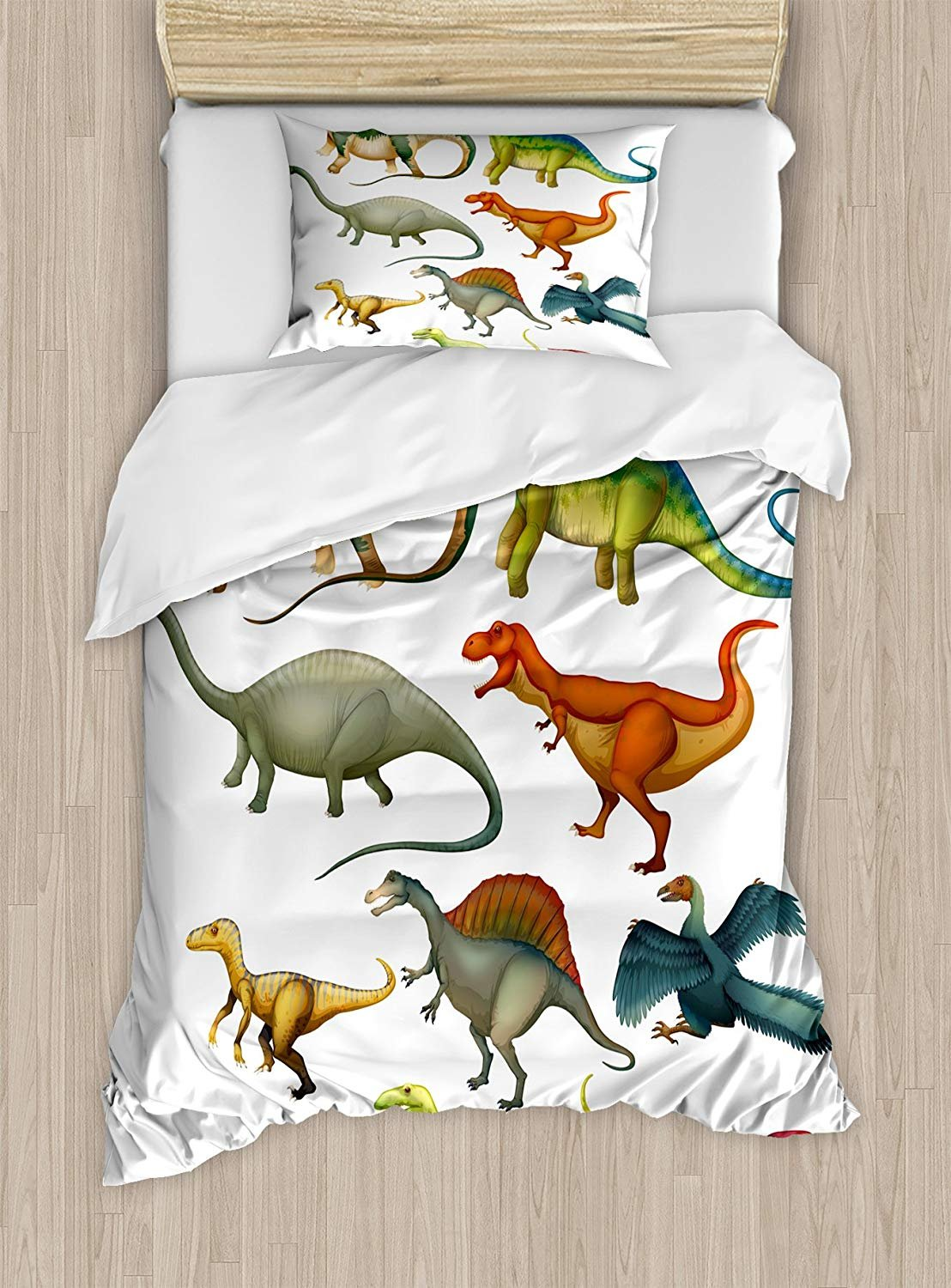GreaBen Twin XL Extra Long Bedding Set,Dinosaur Duvet Cover Set,Various Different Ancient Animals from Jurassic Period Cartoon Collection Mammals,Include 1 Comforter Cover 1 Bed Sheets 2 Pillow Cases