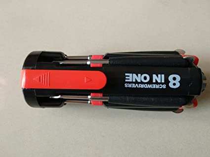 Generic 8 in 1 Multi Function Screwdriver Tool Kit and 6 LED Light Torch