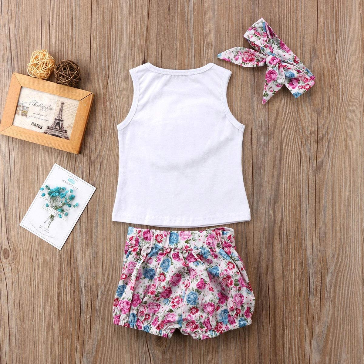 Haokaini Baby Girls Big Little Sisiter Family Matching Set Vest Headband Floral Shorts//Suspender Skirt Outfits