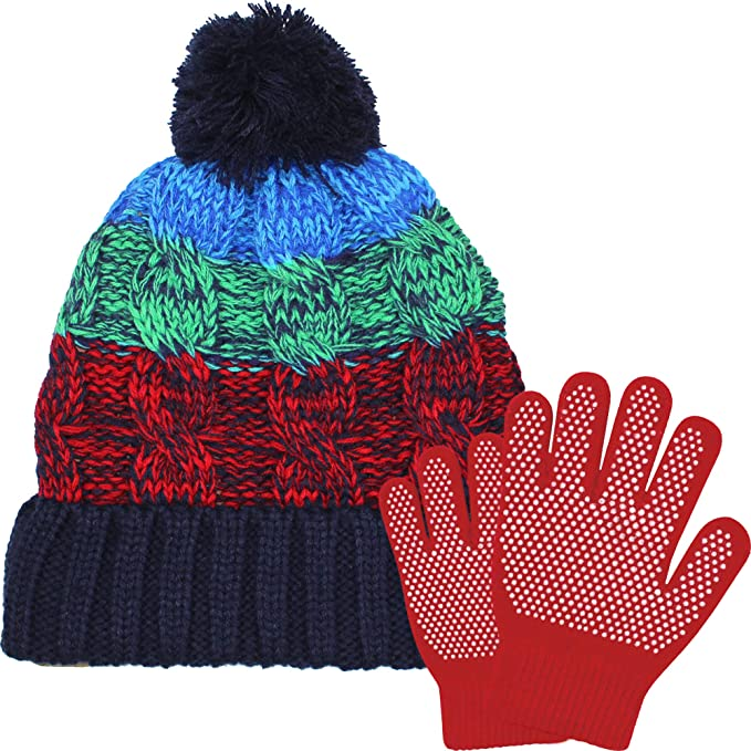 d4afae9893ba3 Boy's Chunky Knitted Pom-Pom Bobble Hat with Gripper Gloves Set (Blue, Green