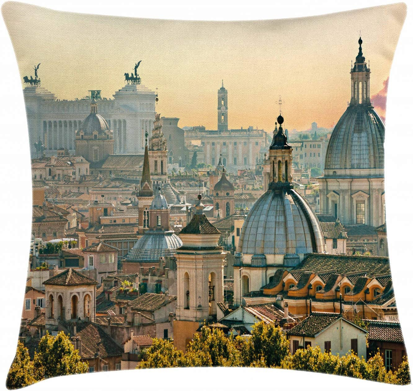 """Ambesonne City Throw Pillow Cushion Cover, View of Rome from Castel Sant'Angelo Italy Historical Landmark Vatican, Decorative Square Accent Pillow Case, 26"""" X 26"""", Salmon Ivory"""