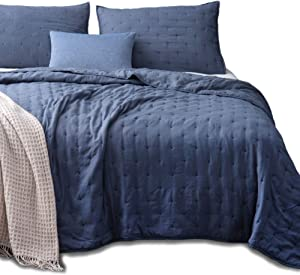 KASENTEX Quilt-Coverlet-Bedspread-Blanket-Set + Two Shams, Ultra Soft, Machine Washable, Lightweight, All-Season, Nostalgic Design - Hypoallergenic - Solid Color (Queen + 2 Shams, Blue)