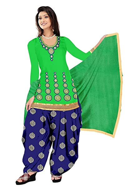 e8b3c68d7db SiyaRam Embroidered Green Cotton Fashion Patiyala Style Party Wear Dress  material. - SF207  Amazon.in  Clothing   Accessories