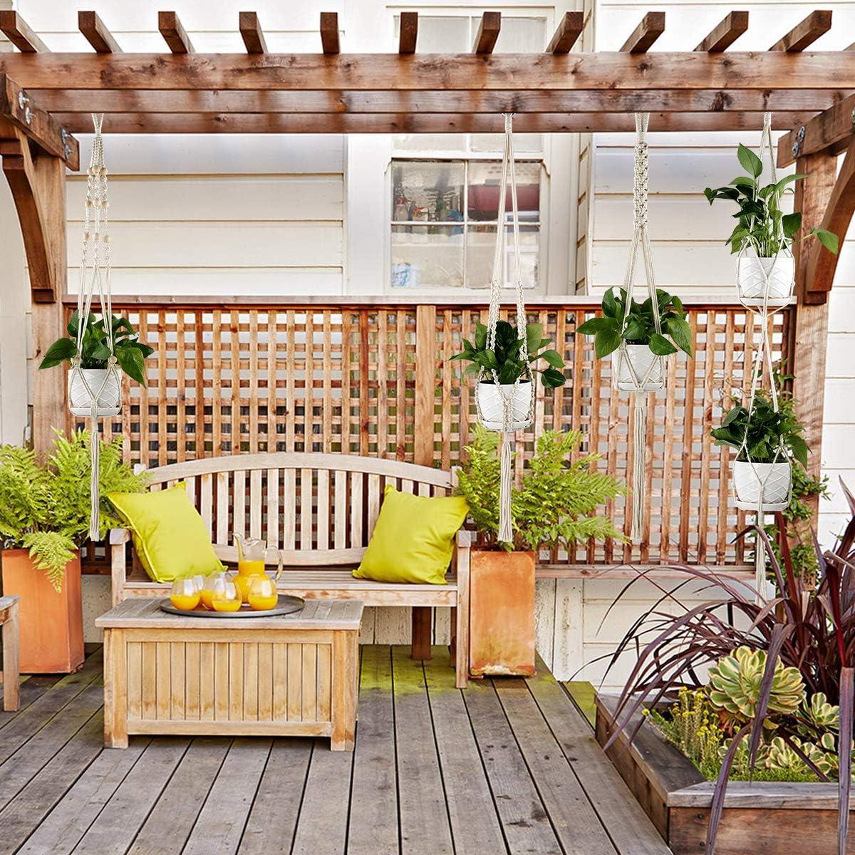 Balkon- Decken- Philorn 4er Set Baumwollseil H/ängeampel Blumentopf Ampeln Makramee Blumenampel f/ür Innen- 47//39 Wanddekoration Pflanzen Halter Aufh/änger Au/ßen-