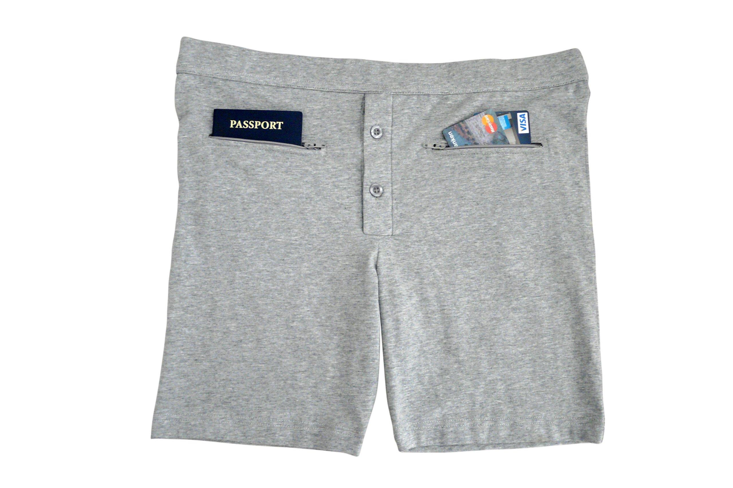 Clever Travel Companion Men's Underwear with Secret Pocket, Gray, X-Large