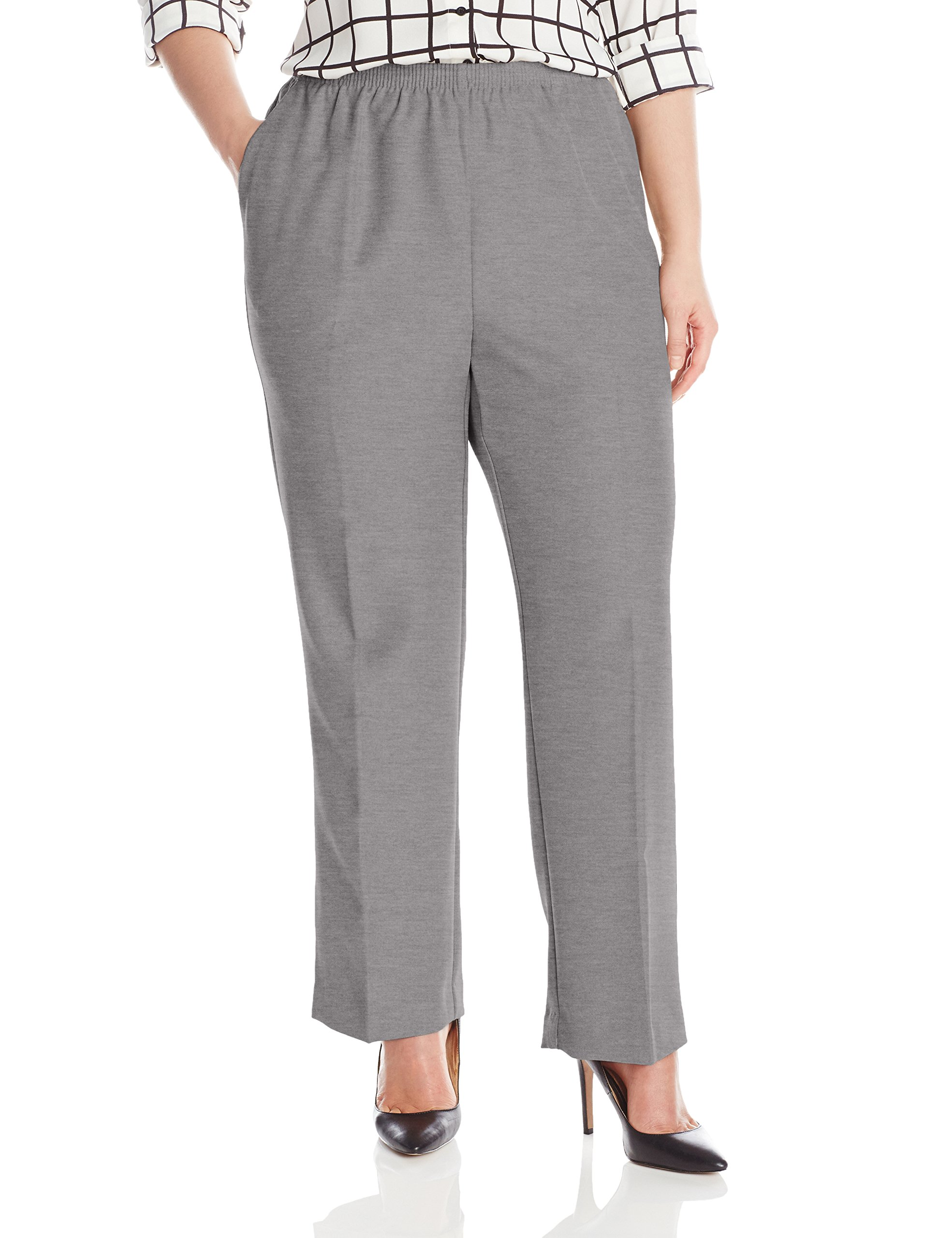 Alfred Dunner Womens Plus Average Pant, Gray, 20W by Alfred Dunner
