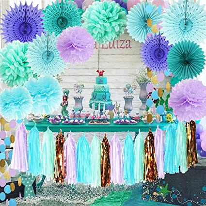 6585ef4fa7350 Mermaid Party Supplies Tissue Pom Poms Teal Paper Fan Flower/Under The Sea  Decorations Baby Shower Decorations First Birthday Decorations Purple ...