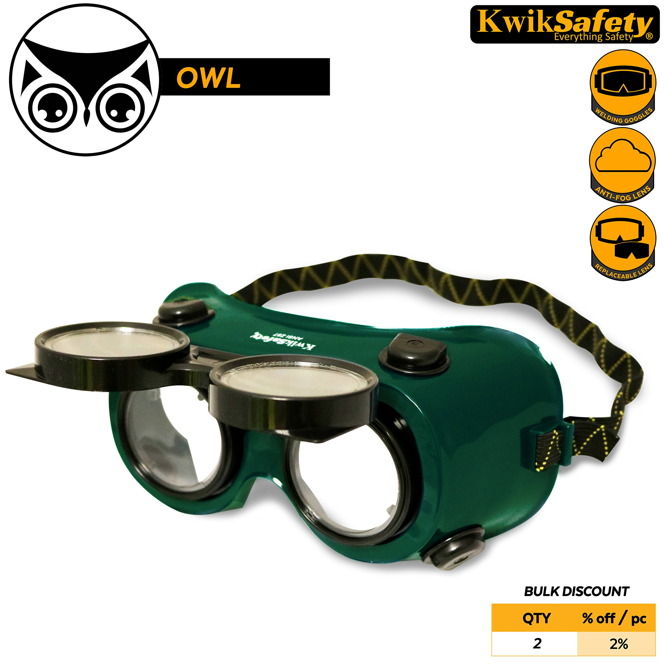 KwikSafety (Charlotte, NC) OWL Industrial ANSI (ANTI-FOG, Snug FIT) Welding Goggles | Flip-Up Shade 5 | Ventilation Safety Plasma Jet Welding Torch Brazing Flame Cutting Gas Oxy-Acetylene Green