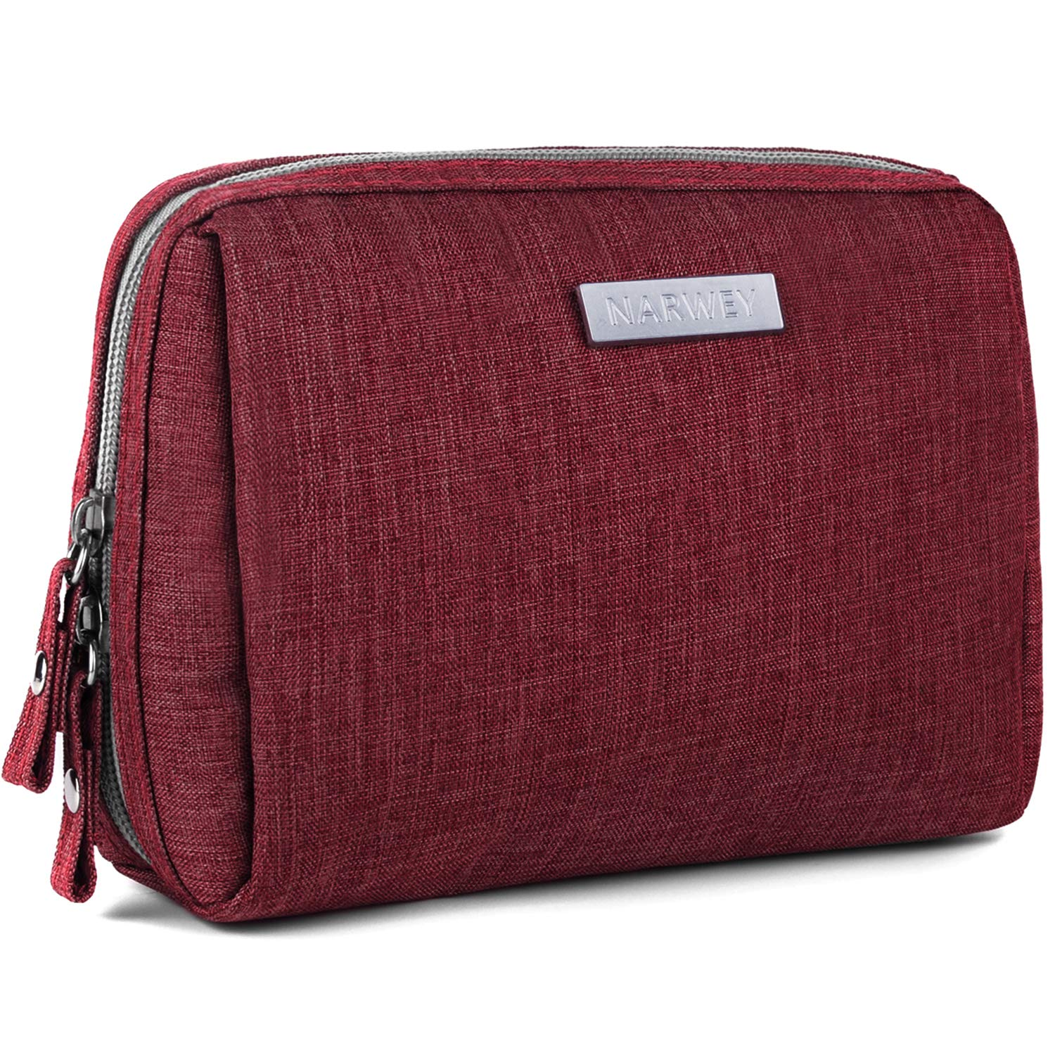 Small Makeup Bag for Purse Travel Makeup Pouch Mini Cosmetic Bag for Women Girls (Rectangle-Red)