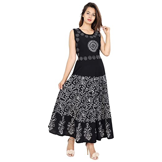 Urban Fab 100% Cotton Block Print Black Maxi Dress for Women