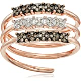 Rose Gold-Plated Sterling Silver Coil Brown and White Diamond Ring (1/4cttw, I-J Color, I2-I3 Clarity)