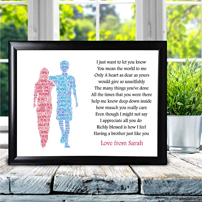 Personalised Gifts for Brother Poem Butterfly Birthday Christmas Keepsake