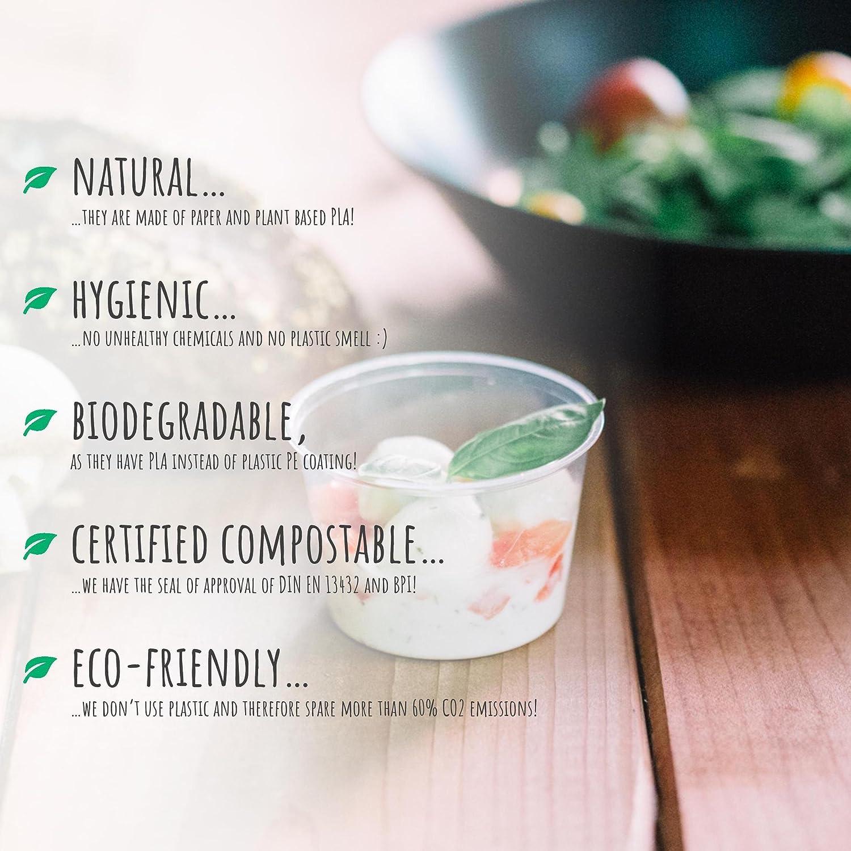 Plantvibes® 100 x Vasos desechables elegantes, Vajillas ecológicas ...