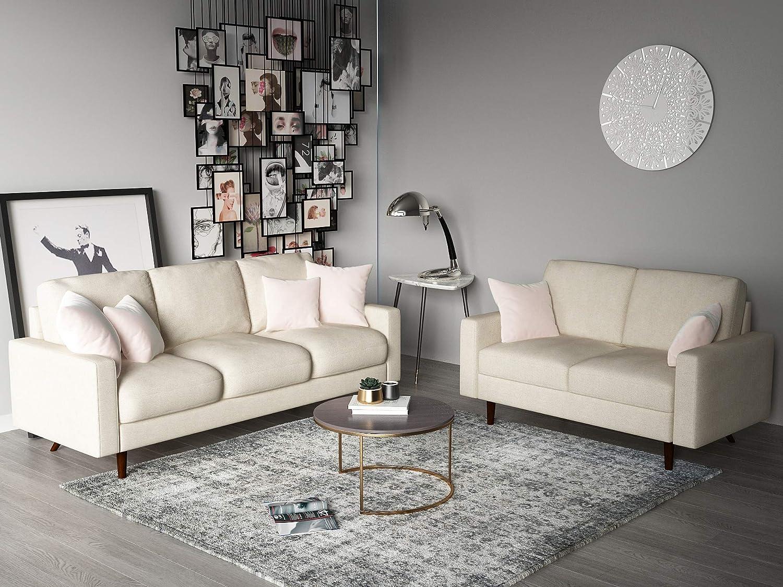 Amazon com container furniture direct s5421 2pc triangular century ultra modern velvet upholstered 2 piece living room sofa set beige kitchen dining