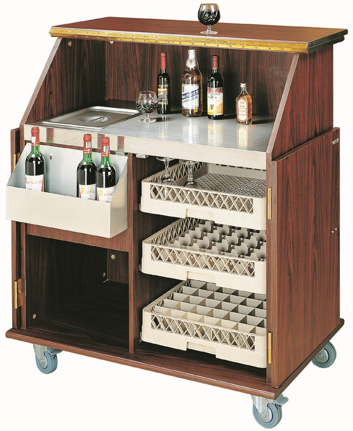 elegante Hausbar - Mobile Bar Theke Bartheke Holz Barschrank: Amazon ...