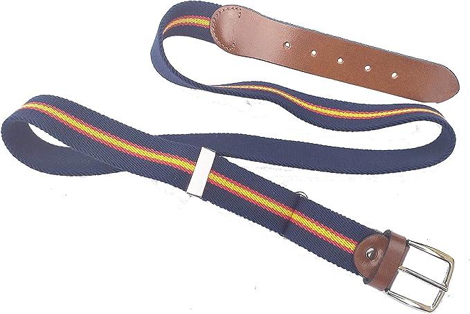 RK - Cinturon Bandera España Lona Elastica Azul y Similpiel, Extensible: Amazon.es: Ropa y accesorios