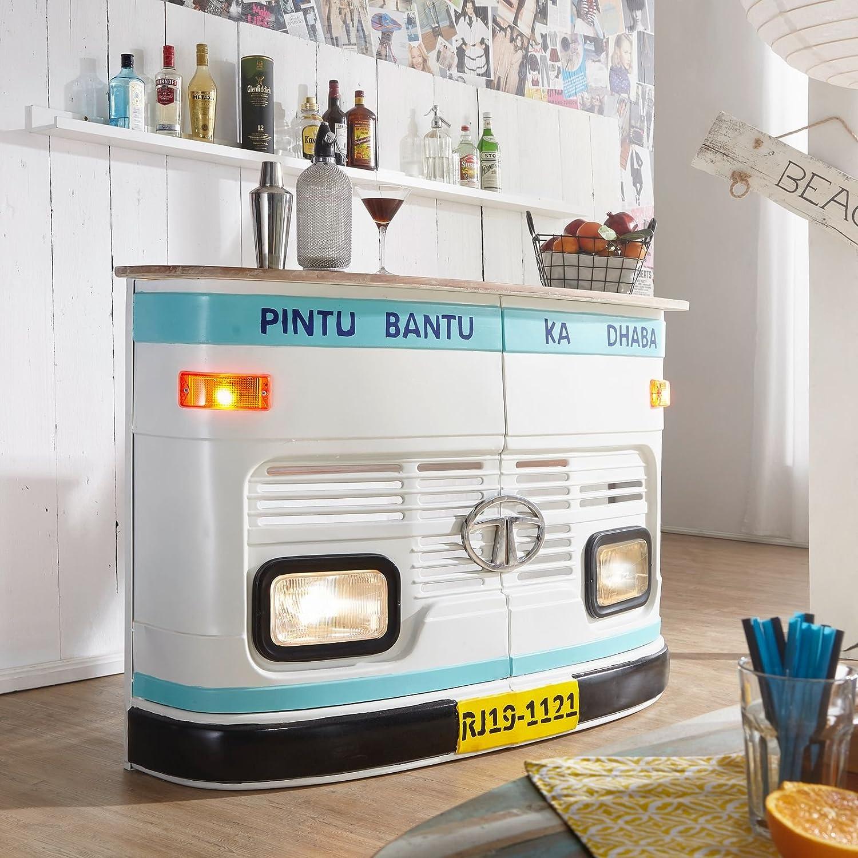 Wohnling Hausbar Lina 157x107x40cm Massivholz/Metall Bar Tresen ...