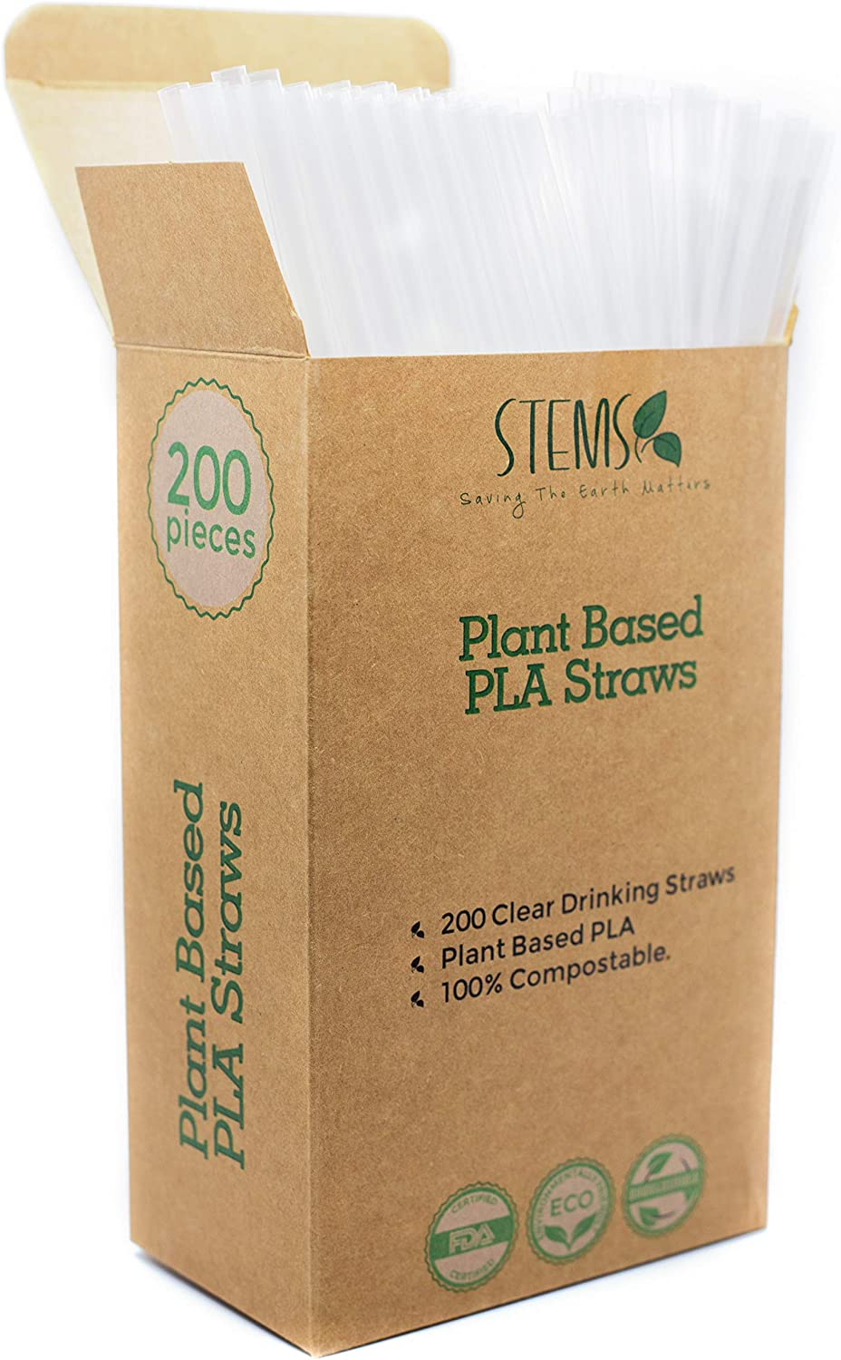 STEMS 200 Clear Drinking Straws - 100% Compostable Plant Based PLA - Eco-Friendly and Biodegradable Alternative to Plastic Straws