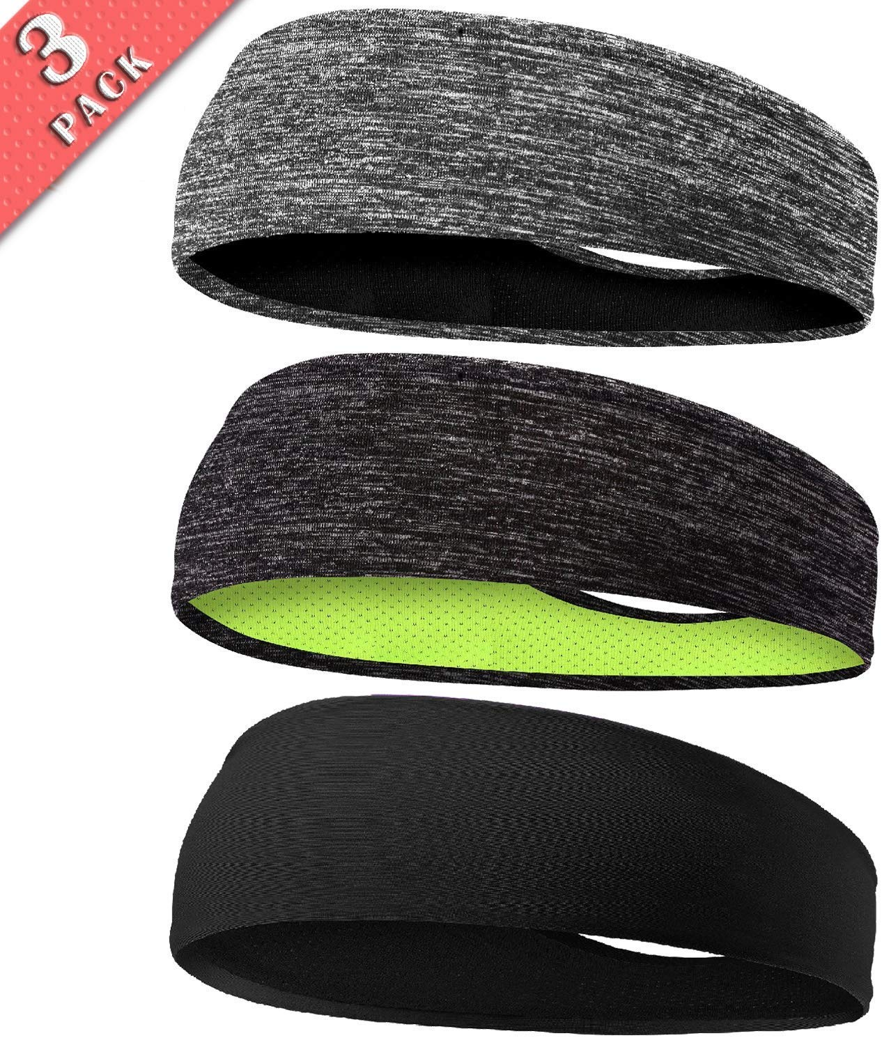 Braylin Men's Headbands, 3 Pack Sweat Workout Headbands for Men, Sport Cooling Headbands for Running Crossfit Fitness Yoga Cycling Hiking, Elastic Sweat Wicking Non Slip
