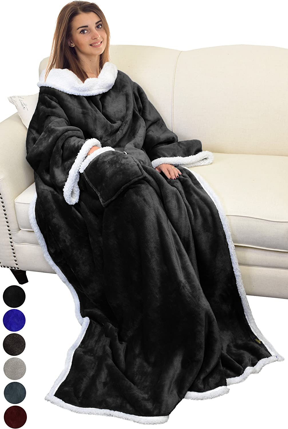 Catalonia Sherpa Wearable Blanket with Sleeves Arms,Super Soft Warm Comfy Large Fleece Plush Sleeved TV Throws Wrap Robe Blanket for Adult Women and Men Black