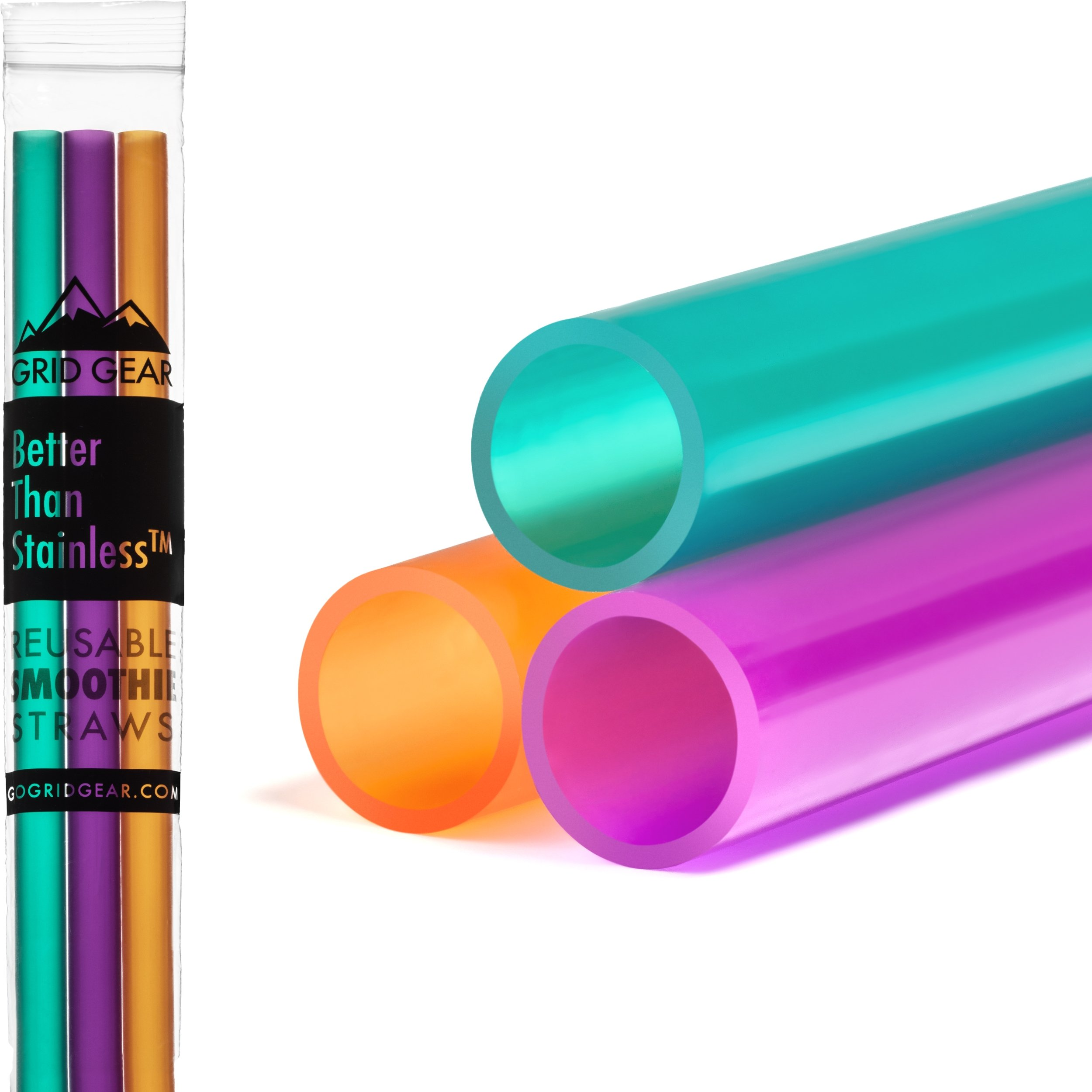Reusable Smoothie Straws - Great for Milkshakes, Bubble & Boba Tea - 3-pack