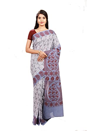 Madurai sungudi cotton saree with grey (violete/blue mix) color body