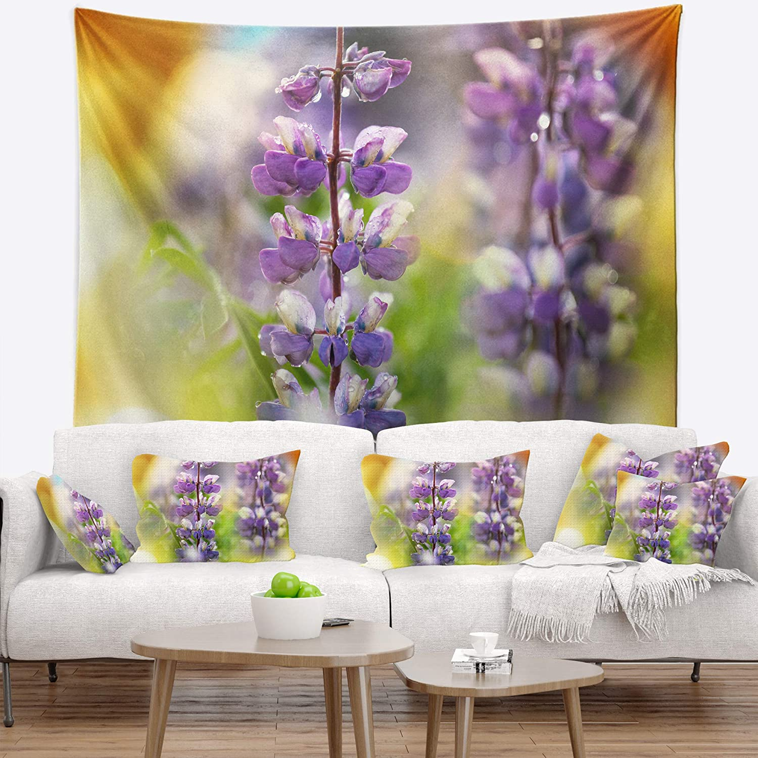 x 32 in Medium: 39 in Designart TAP12547-39-32 Beautiful Blue Lupin Flower Blanket D/écor Art for Home and Office Wall Tapestry Created On Lightweight Polyester Fabric