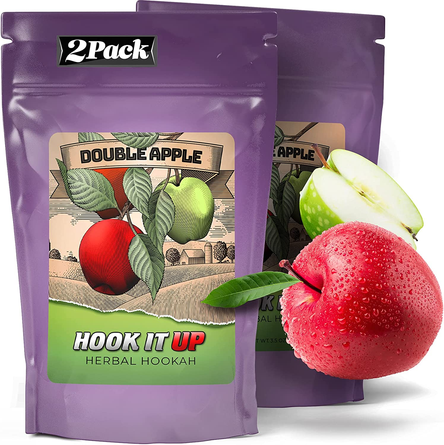 Hookah Flavors Tobacco Free and Nicotine Free. Double Apple Shisha. Herbal Molasses by Hook IT UP. (Pack of 2) 200g 7oz Total