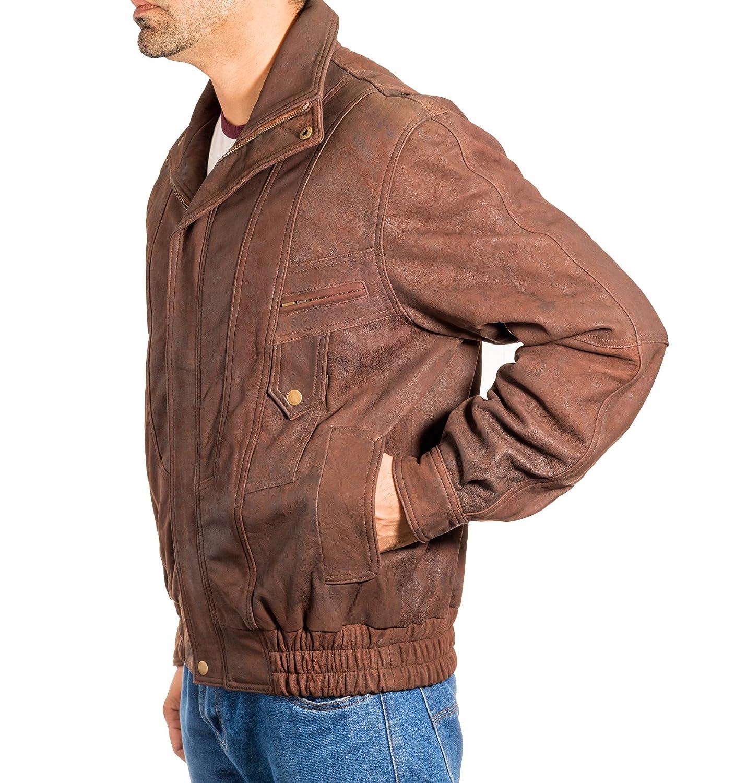 Mens Brown Antique Leather Vintage Classic Retro Blouson Bomber Jacket Coat